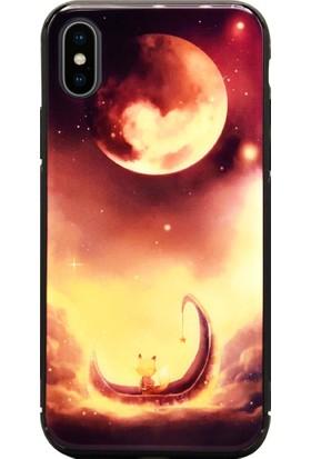 AntDesign iPhone X Cam Baskı Desenli Kılıf Red Moon