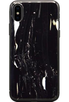 AntDesign iPhone X Mermer Desen Kılıf Siyah