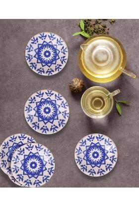 Keramika 6 Adet 11 Cm İknat Kobalt Kera Art Çay Tabağı-17932