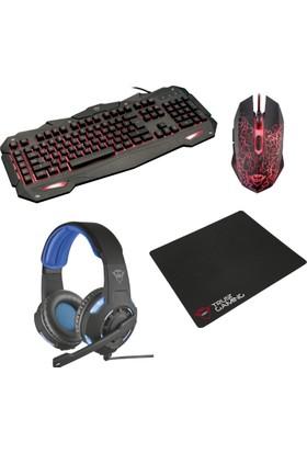 Trust Oyuncu Aksesuar Seti ( Klavye + Mouse + Mousepad + Kulaklık )