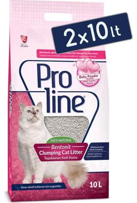 Pro Line Bebek Pudrası Kokulu Topaklanan Kedi Kumu 10 Lt (2 Adet)