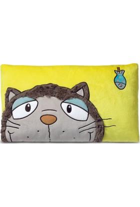 Nici Pelüş Dikdörtgen Yastık Gri Kedi 43 x 25 cm