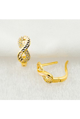 Bilezikci Sonsuzluk 14 Ayar Sarı Altın Taşlı Küpe