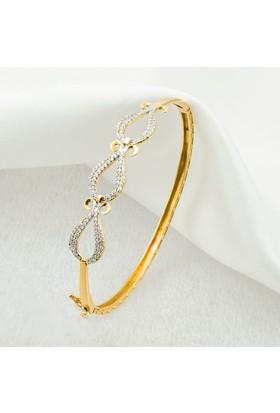 Label Jewelry Taşlı 14 Ayar Altın Kelepçe Bilezik K440Label