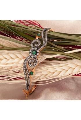 Label Jewelry Taşlı 14 Ayar Pembe Altın Kelepçe Bilezik
