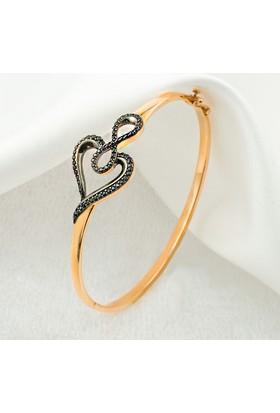 Label Jewelry Kalp Sonsuzluk 14 Ayar Rose Altın Bilezik