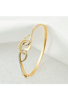 Label Jewelry Taşlı Hilal 14 Ayar Altın Kelepçe Bilezik