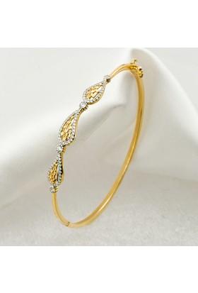 Label Jewelry Damla 14 Ayar Altın Kelepçe Taşlı Bilezik