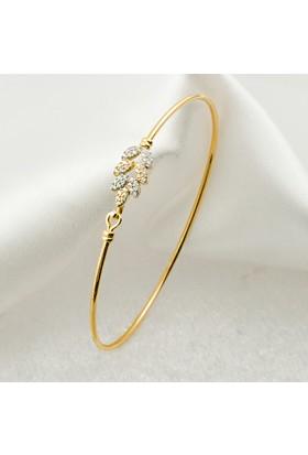 Label Jewelry Yapraklı 14 Ayar Altın Kelepçe Bilezik