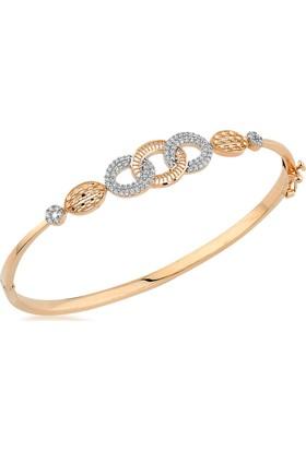 Label Jewelry Olimpiyat 14 Ayar Altın Kelepçe Taşlı Bilezik
