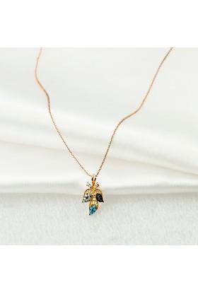 Label Jewelry Firuze Taşlı Yaprak 14 Ayar Altın Kolye