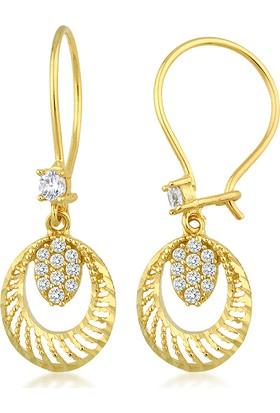 Label Jewelry Taşlı 14 Ayar Altın Sarkaç Küpe