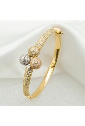 Favori Gold Taşlı Tria Altın Kelepçe Bilezik