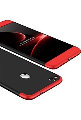 Case 4U Huawei P9 Lite 360 Derece Korumalı Tam Kapatan Koruyucu Kılıf - Siyah - Kırmızı