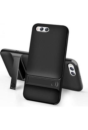 Case 4U Xiaomi Mi 6 Kılıf Standlı Korumalı Silikon Arka Kapak - Siyah