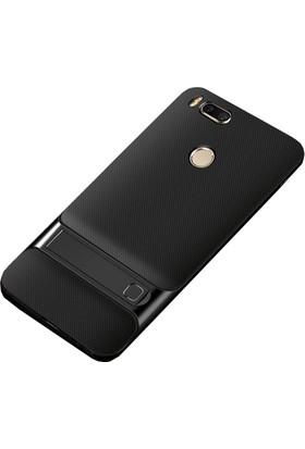 Case 4U Xiaomi Mi A1 - 5X Kılıf Standlı Korumalı Silikon Arka Kapak - Siyah