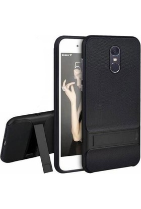 Case 4U Xiaomi Redmi Note 4X Kılıf Standlı Korumalı Silikon Arka Kapak - Siyah
