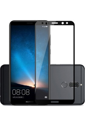 Case 4U Huawei Mate 10 Lite Tam Kaplayan Temperli Cam Ekran Koruyucu - Siyah