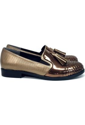Elexus 5501 Bronz Bayan Günlük Babet Ayakkabı