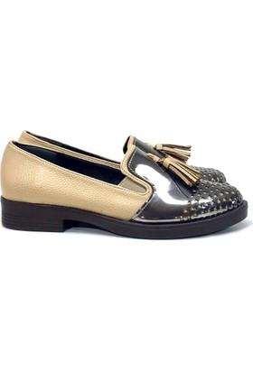 Elexus 5501 Bej Bayan Günlük Babet Ayakkabı