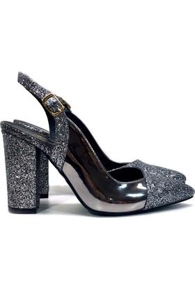 Elexus 5180 Platin Ayna Bayan Topuklu Ayakkabı