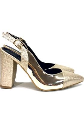 Elexus 5180 Altın Ayna Bayan Topuklu Ayakkabı