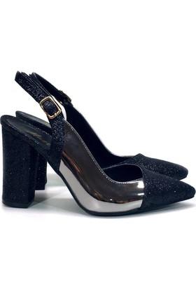 Elexus 5180 Siyah Ayna Bayan Topuklu Ayakkabı