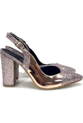Elexus 5180 Pudra Ayna Bayan Topuklu Ayakkabı