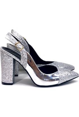 Elexus 5180 Gümüş Ayna Bayan Topuklu Ayakkabı