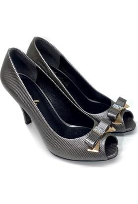 Elexus 3521 Platin Bayan Topuklu Ayakkabı