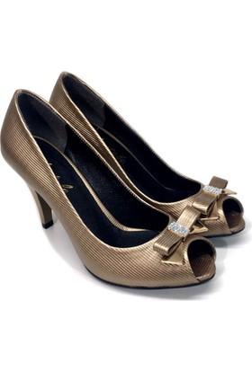 Elexus 3521 Bronz Bayan Topuklu Ayakkabı