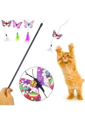 Kelebekli Olta Kedi Oyuncağı 47 cm