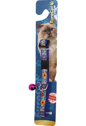 Eurocat Mor Çiçek Desenli Çıngıraklı Kedi Boyun Tasması