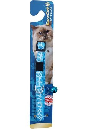Eurocat Çizgi Desenli Çıngıraklı Kedi Boyun Tasması Mavi