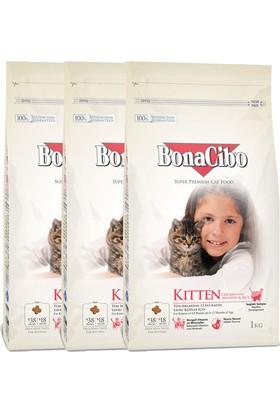 BonaCibo Kitten Tavuklu Yavru Kedi Maması 1kg x 3 adet