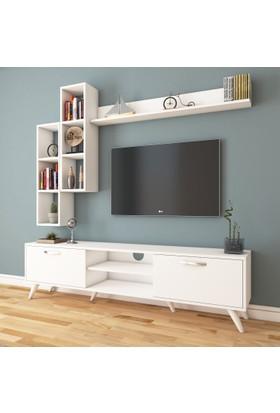 Rani A9 Duvar Raflı Kitaplıklı Tv Ünitesi Duvara Monte Dolaplı Modern Ayaklı Tv Sehpası Beyaz M16