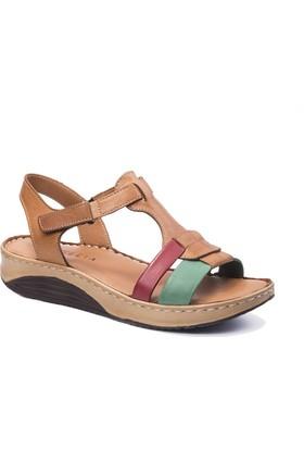 Beta Deri Kadın Sandalet - Taba Kombin