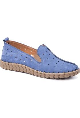 Beta Deri Kadın Ayakkabı - Nubuk Kot Mavi
