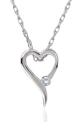 Divas Love Pırlantalı Kalp Beyaz Altın Kolye