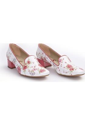 Neefs Kadın Beyaz Kırmızı Güller Kariyer Topuklu Ayakkabı BYZ201