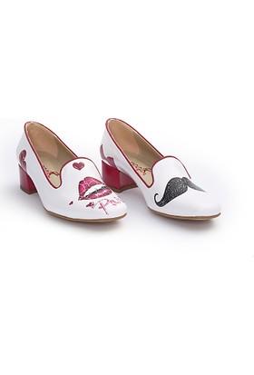 Neefs Kadın Beyaz Öpücüklü Paris Kariyer Topuklu Ayakkabı BYZ205