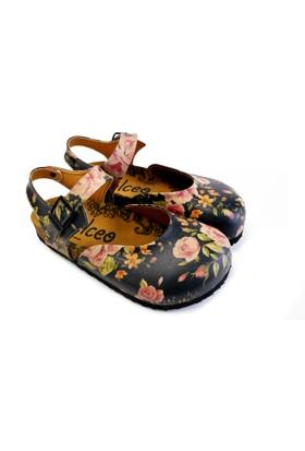 Neefs Kadın Siyah Güller Sandalet CAL1604