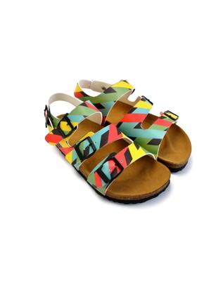 Neefs Kadın Renkli Kareler Konforlu Ortopedik Sandalet CAL1901