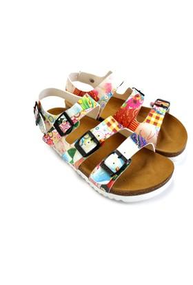 Neefs Kadın Beyaz Renkli Papatyalar Konforlu Ortopedik Sandalet CAL1902