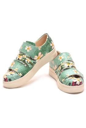 Neefs Kadın Yeşil Beyaz Papatyalar Slip On Sneaker NAC102