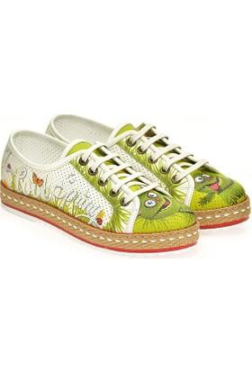 Neefs Kadın Yeşil Sevimli Kedi Slip On Sneaker NDEL104