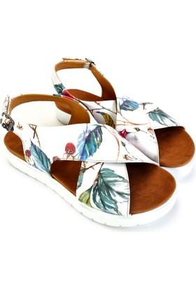Neefs Kadın Beyaz Renkli Kuş Günlük Sandalet NSN111
