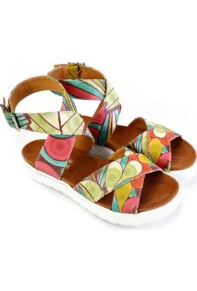 Neefs Kadın Renkli Rengarenk Desenler Günlük Sandalet NSN206