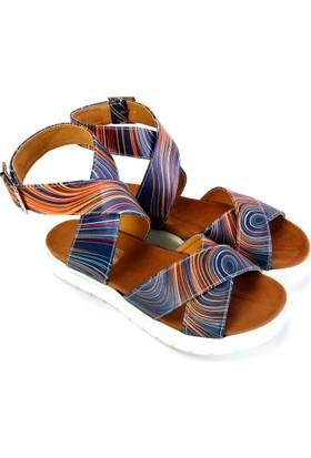 Neefs Kadın Lacivert Renkli Halkalar Günlük Sandalet NSN208