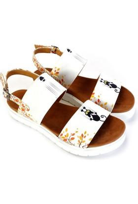 Neefs Kadın Beyaz Tırmıkçı Kedi Günlük Sandalet NSN310